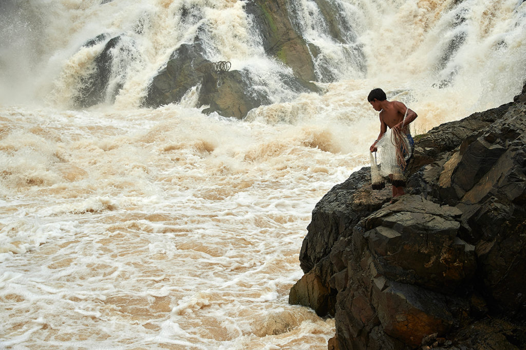 Fishing in Khon Phapheng Waterfall,  Mekong River In Champasak