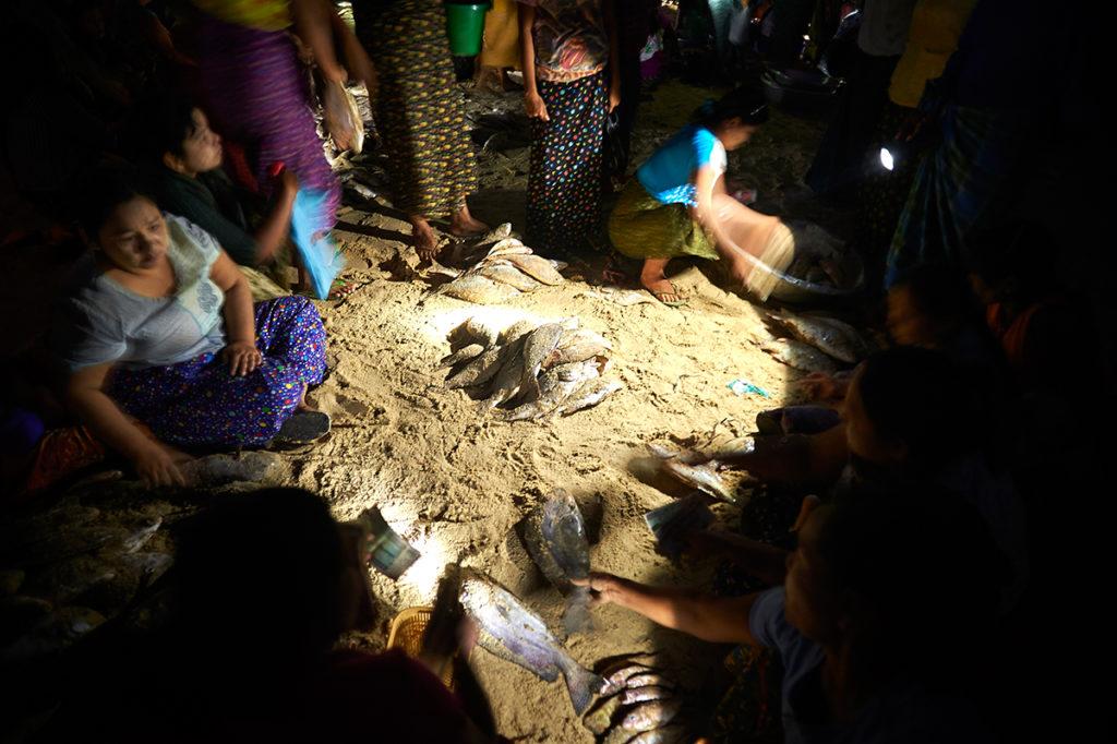 Fish traders at Thabawseik, Dawei
